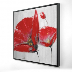 Framed 24 x 24 - 3D - Three red flowers on gray background