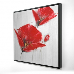 Framed 36 x 36 - 3D - Three red flowers with golden center