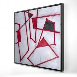 Framed 24 x 24 - 3D - Red outlines shapes