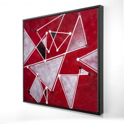 Framed 24 x 24 - 3D - White triangles on red background