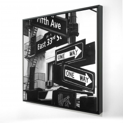 Framed 24 x 24 - 3D - New york city signs in front of an appartment
