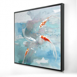 Framed 24 x 24 - 3D - Koi fish in blue water