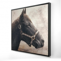 Framed 24 x 24 - 3D - Gallopin the brown horse