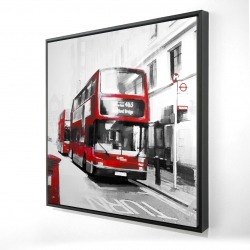Framed 24 x 24 - 3D - Red bus in a gray street