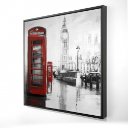 Framed 24 x 24 - 3D - Red phonebooth with the big ben