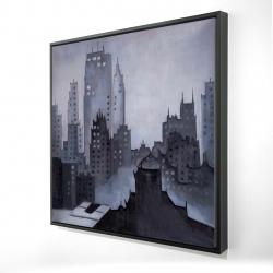 Framed 24 x 24 - 3D - Illustrative gray city