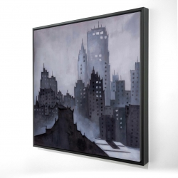Framed 24 x 24 - 3D - Dark city
