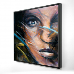 Framed 24 x 24 - 3D - Colorful woman face