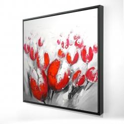 Framed 24 x 24 - 3D - Red tulips