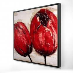Framed 24 x 24 - 3D - Two red tulips
