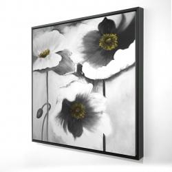 Framed 24 x 24 - 3D - Black and white flowers