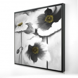 Framed 24 x 24 - 3D - Black and white flowers