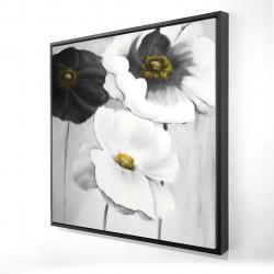 Framed 24 x 24 - 3D - Assorted white flowers