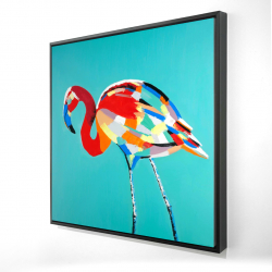 Framed 24 x 24 - 3D - Abstract flamingo