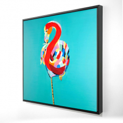 Framed 24 x 24 - 3D - Colorful flamingo