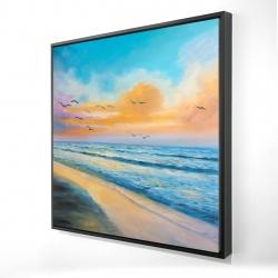 Framed 24 x 24 - 3D - Breathtaking tropical sunset