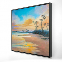 Framed 24 x 24 - 3D - Sunset by the sea