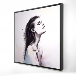 Framed 24 x 24 - 3D - Watercolor beautiful woman with dark hair