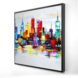Framed 24 x 24 - 3D - Abstract and colorful city
