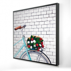 Framed 24 x 24 - 3D - Bicycle with a bouquet of tulips