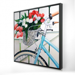 Framed 24 x 24 - 3D - Bicycle with tulips flowers in basket