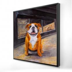 Framed 24 x 24 - 3D - Smiling bulldog