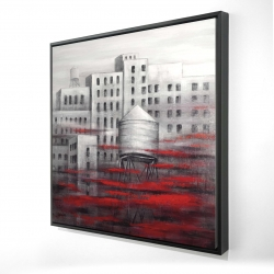 Framed 24 x 24 - 3D - Gray city with red clouds