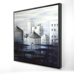 Framed 24 x 24 - 3D - Gray city with blue clouds