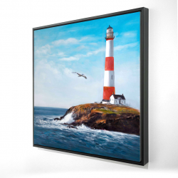 Framed 24 x 24 - 3D - Lighthouse at the edge of the sea
