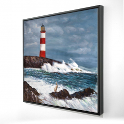 Framed 24 x 24 - 3D - Lighthouse at the edge of the sea unleashed