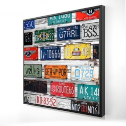 Framed 24 x 24 - 3D - Number plates