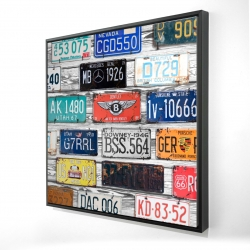 Framed 24 x 24 - 3D - Vintage plates registration