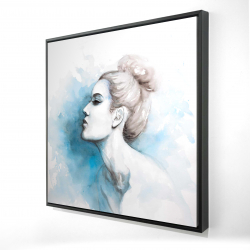 Framed 24 x 24 - 3D - Watercolor abstract girl profile view