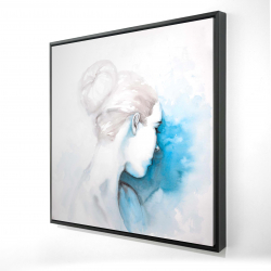 Framed 24 x 24 - 3D - Watercolor abstract girl with hair bun