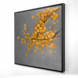 Framed 24 x 24 - 3D - Golden wattle plant with pugg ball flowers