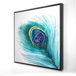 Framed 24 x 24 - 3D - Peacock feather closeup