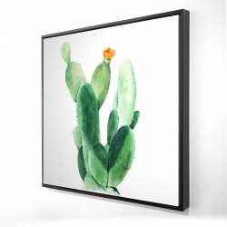 Framed 24 x 24 - 3D - Watercolor paddle cactus with flower