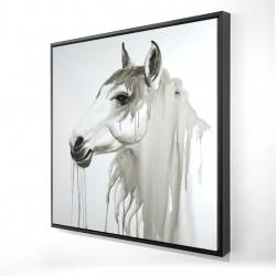 Framed 24 x 24 - 3D - Beautiful white horse