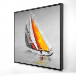 Framed 24 x 24 - 3D - Two colors sailing boat
