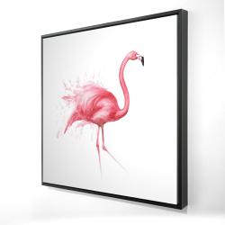 Framed 24 x 24 - 3D - Pink flamingo watercolor