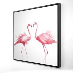 Framed 24 x 24 - 3D - Two pink flamingo watercolor