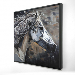 Framed 48 x 48 - 3D - Side of a wild horse