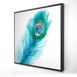 Framed 24 x 24 - 3D - Long peacock feather