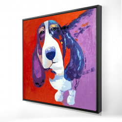 Framed 24 x 24 - 3D - Abstract colorful basset dog