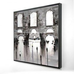 Framed 24 x 24 - 3D - Gray building with passersby
