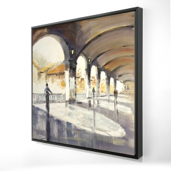 Framed 24 x 24 - 3D - People in a spacious hall