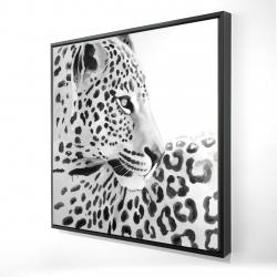 Framed 24 x 24 - 3D - Beautiful leopard