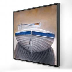 Framed 24 x 24 - 3D - Two canoe boats