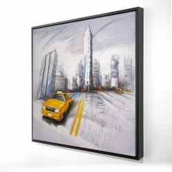 Framed 24 x 24 - 3D - Yellow taxi and city sketch