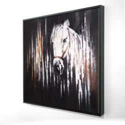 Framed 24 x 24 - 3D - White horse in the dark